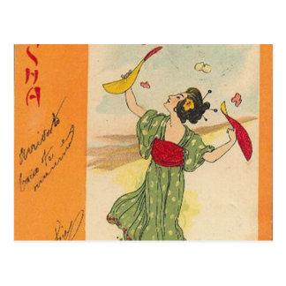 Serie japonesa del ejemplo/del geisha tarjetas postales