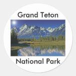 Serie magnífica 4 del parque nacional de Teton Pegatina Redonda