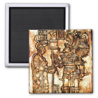 Serie maya #1 de la foto de las tallas imán cuadrado