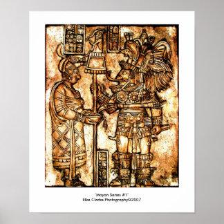 Serie maya #1 de la foto de las tallas póster