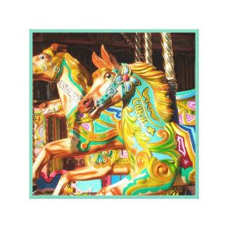 Serie pintada tiovivo 34 del carrusel del caballo impresión en lienzo