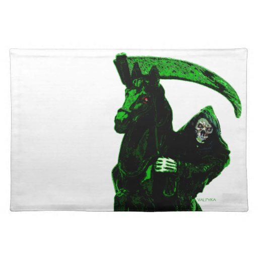 Serie verde de neón del jinete del parca por Valpy Manteles Individuales