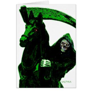Serie verde de neón del jinete del parca por Valpy Tarjeta De Felicitación