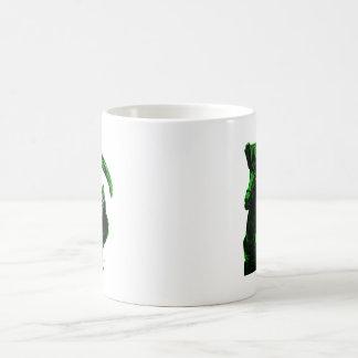 Serie verde de neón del jinete del parca por Valpy Taza De Café