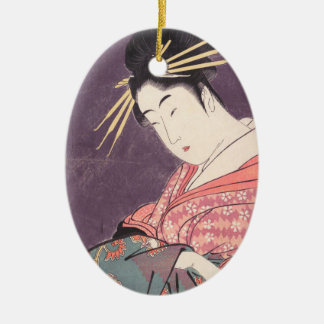 Series Comparing the Charms of Beauties Courtesan Ceramic Ornament