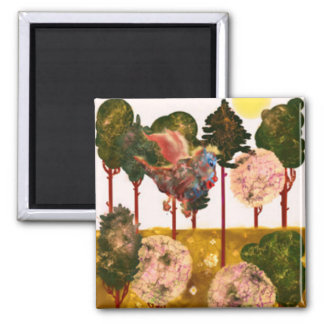 Series Forest. Forest and Forest Dragon 2 Inch Square Magnet