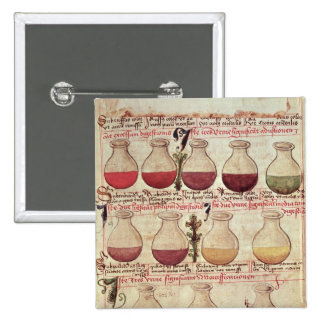 Series of flagons for urine analysis pinback button