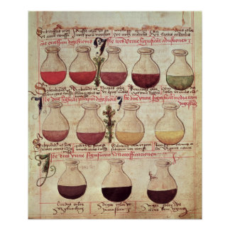 Series of flagons for urine analysis poster