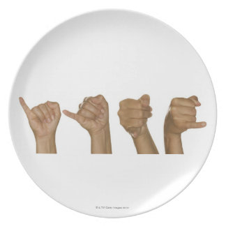 Series of hands making J sign Dinner Plate