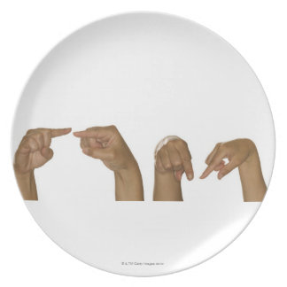 Series of hands making Z sign Melamine Plate