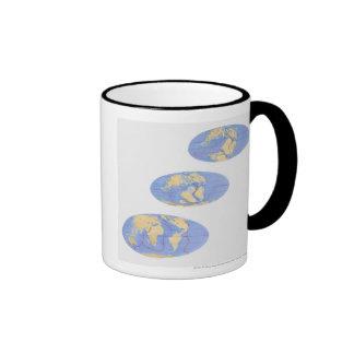 Series of Illustrations of Earth Coffee Mugs