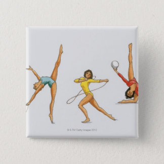 Series of illustrations showing rhythmic pinback button