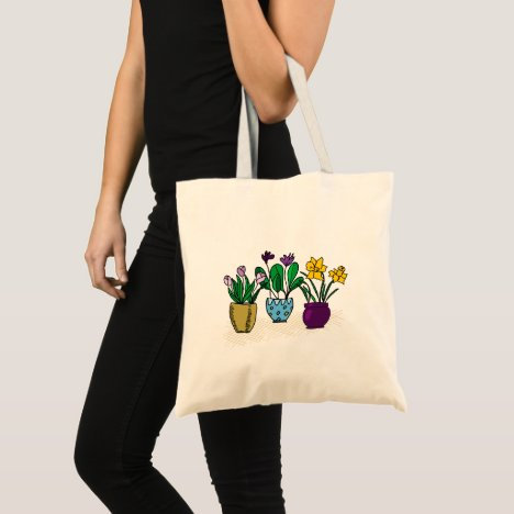 Series of sweet flower pots tote bag