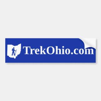 Serif font, blue background bumper sticker