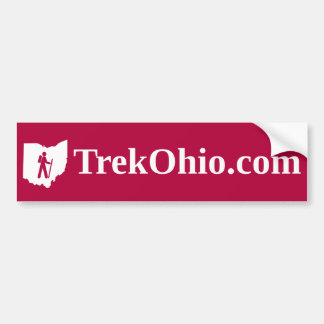 Serif font, red background bumper sticker