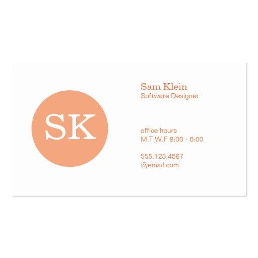 Serif Type Monogram Apricot Circle Business Card