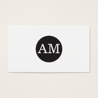 Serif Type Monogram Black Circle Business Card