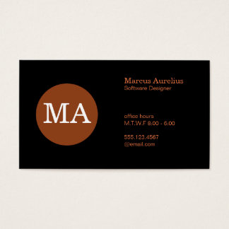 Serif Type Monogram Bronze Circle Business Card