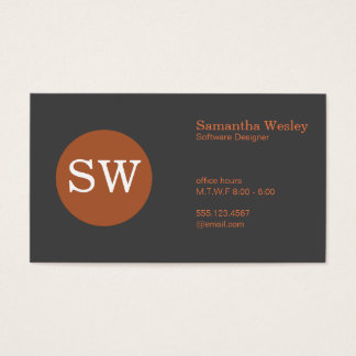 Serif Type Monogram Burnt Orange Circle Dark Grey Business Card