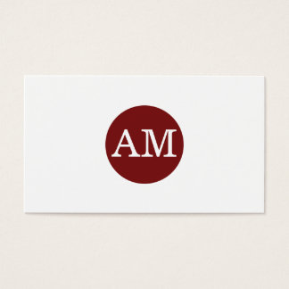 Serif Type Monogram Crimson Red Circle Business Card