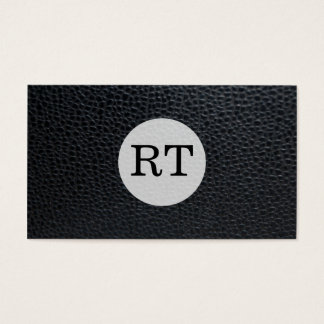 Serif Type Monogram / Leather Business Card