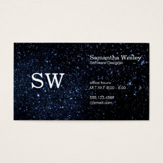 Serif Type Monogram Variation / Night Sky Business Card
