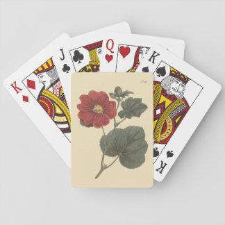 Seringapatam Hollyhock Botanical Illustration Playing Cards