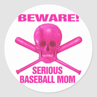 Serious Baseball Mom Classic Round Sticker