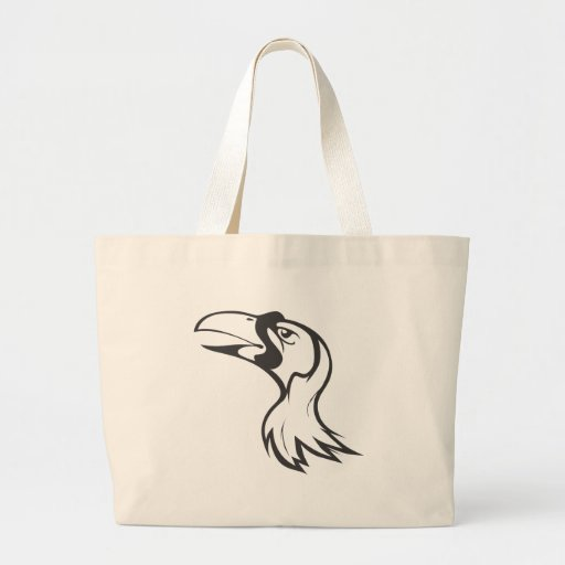 Serious Bird of Paradise in Black and White Canvas Bag