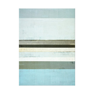 'Serious' Blue and Grey Abstract Art Canvas Print