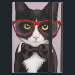 "Serious Cat Case For iPad Air<br><div class=""desc"">Design of a hipster style tuxedo cat wearing red specs and black bowtie on purple background. Digital illustration by Maryline Cazenave.</div>"