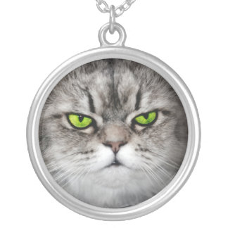 Serious cat with green eyes pendant