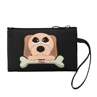Serious Dog with A Bone That Says Mine Coin Purse