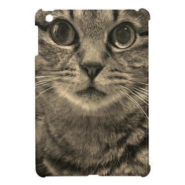 Serious face cat sepia case for the iPad mini