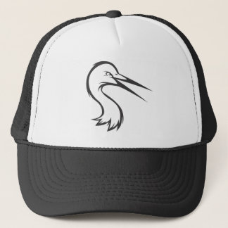 Serious Great Egret Bird in Black and White Trucker Hat