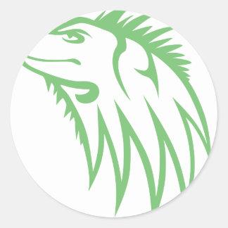 Serious Green Iguana Reptile Classic Round Sticker