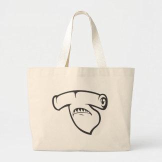 Serious Hammerhead Shark Fish in Black Canvas Bag