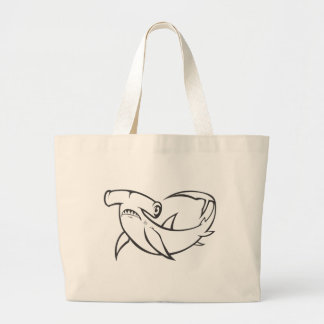 Serious Hammerhead Shark in Black and White Tote Bags
