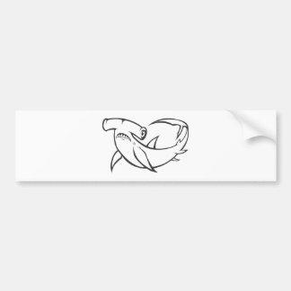 Serious Hammerhead Shark in Black and White Car Bumper Sticker