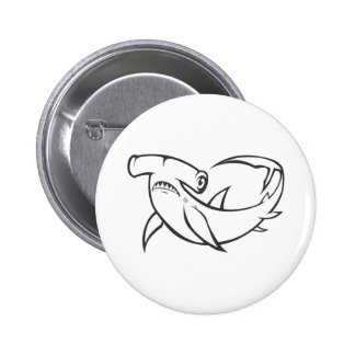 Serious Hammerhead Shark in Black and White Pins