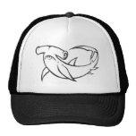 Serious Hammerhead Shark in Black and White Trucker Hats