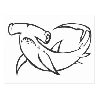 Serious Hammerhead Shark in Black and White Postcards