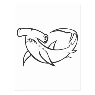 Serious Hammerhead Shark in Black and White Postcard