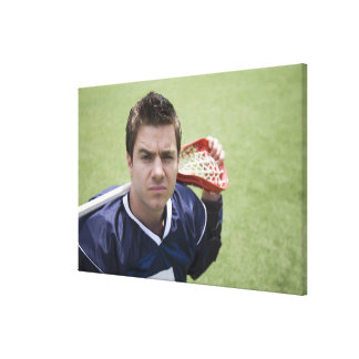 Serious lacrosse player canvas print