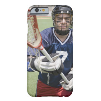 Serious lacrosse player holding crosse barely there iPhone 6 case