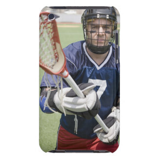 Serious lacrosse player holding crosse barely there iPod cases