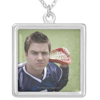 Serious lacrosse player square pendant necklace