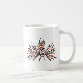 Serious Lion Fish in Black and White Coffee Mug