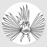 Serious Lion Fish in Black and White Round Stickers