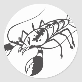 Serious Lobster in Black and White Classic Round Sticker